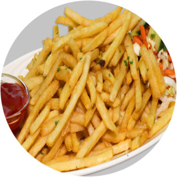 35. FRENCH FRIES WITH FRESH VEGETABLE SALAD