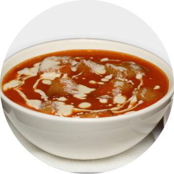75. TOMATO SOUP WITH PRAWNS